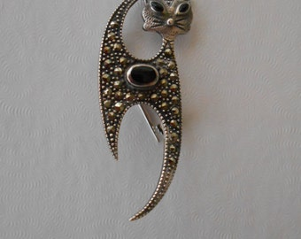 Reduced! Cute 925 Marcasite and Onyx Cat Pin!