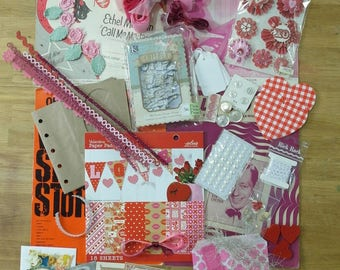 Valentines Day album kit emphemera huge lot junk journal paper bag album 200+ pc diy
