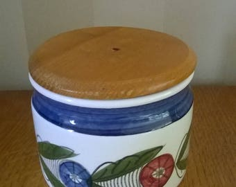 Rorstrand Sweden vintage Dalom jar with wooden lid. Design Marianne Westman years 50.