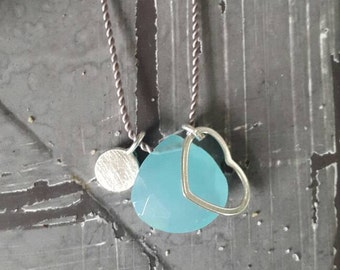 Necklace with Aqua Blue chalcedony and sterling silver/rose gold filled/gold filled details/length on request/gift/personalizable