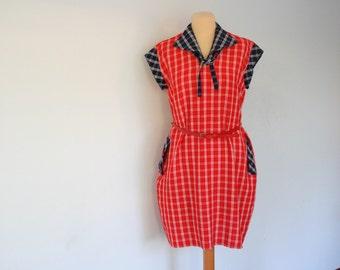 70s Red White Sailor Dress Red Navy Nautical Dress Plaid Medium