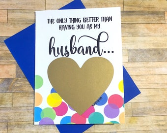 Rainbow Baby Pregnancy Announcement to Husband- Pregnancy Scratch Off - New Daddy - only thing better than having you as a husband - RAINBOW