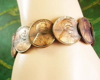 "Vintage Penny Bracelet Coins 1964D 1966 1969 1971 1973 1974 plus more Size 7"" with a 1/2"" Gap Women's Money Jewelry"