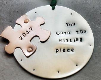 Puzzle piece Ornament - Adoption Ornament  - Ornament - Christmas Ornament -Adoption- Holiday Decor -  Surrogate - Ornament- Wife - Adopt