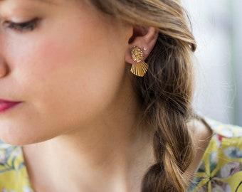 Boucles Ear Ora dorées et pierres