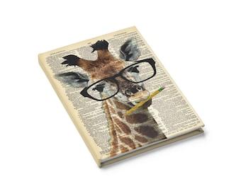 Gescheit Giraffe Notebook Journal - gefüttert leeres Buch Wörterbuch Kunstdruck, Lehrer Geschenke süße Giraffe Tier trägt Brille Strumpf Stuffer