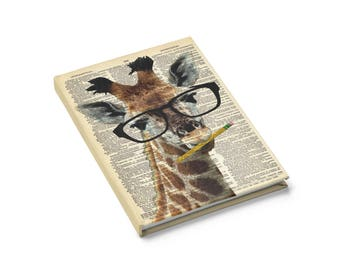 Brainy Giraffe Notebook Journal - Lined Blank Book Dictionary Art Print, Teachers Gifts Cute Giraffe Animal Wearing Glasses Stocking Stuffer