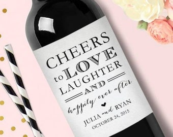 Wedding Wine Label Engagement Wine Label Personalized Wine Label