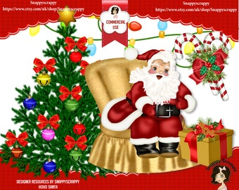 Christmas Scrap Kits, Christmas Elements, Designer Resources, Digital Elements, Christmas Ornaments, Father Christmas, Santa, Commercial Use