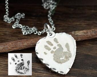 Child's Handprint into Necklace, Actual Kids Hand print Necklace, Your Child's Hand-print, Kids Drawing Necklace, Actual Handprint Jewelry