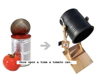 """Desk lamp matte black , eco friendly: handmade / homemade , recycled from tomato can ! EURO , UK or US plug (  """"flexo nº001"""" © )"""