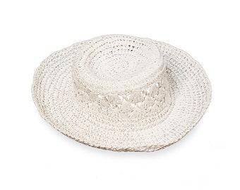 White Straw Hat, Sun Hat, Floppy Wide Brim, Spring, Summer, Beach Wedding, Vintage, Hat Size 21, Woman, Womens Hats, Work Appropriate,