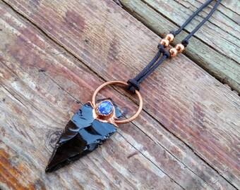 Obsidian Arrowhead Copper Healing Necklace. Obsidian & Lapis Lazuli Electroformed pendant. Unique Crystal Jewelry.
