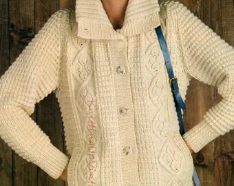 Aran Knitting Pattern PDF Womens Ladies Jacket 34 - 38