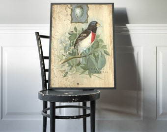 Bird Art, Poster Print, Ready to Frame, 12 x 16 print, Vintage Bird Prints, 18 x 24, 16 x 20, 24 x 36, Farmhouse Wall Decor, Cabin Art
