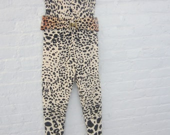 Handmade i - of - a kind leopard print  jumpsuit from the 1980's
