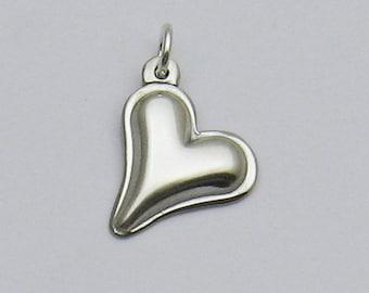 Sterling Silver Heart Charm, Small Heart Charm, Valentine's Day Gift, Romantic Gift, Gift for Love, Heart Gift, Heart Charm Bracelet