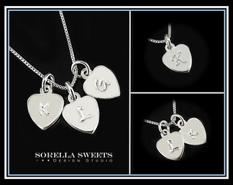 1 2 3 4 5 Initial Necklace, Heart Necklace, Personalized Silver Initial Disk Necklace, Initial Necklace