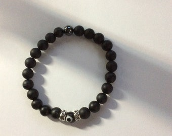 Onyx With Hematite, Sterling Silver, and evil eye
