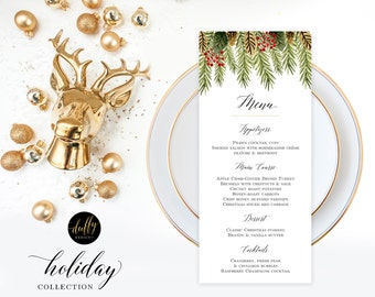 "Christmas Menu Printable, Holiday Menu Cards, Party Menu, Wedding Menu, Christmas Printable, Holiday Dinner Party Menu, 4x9"" Printable"