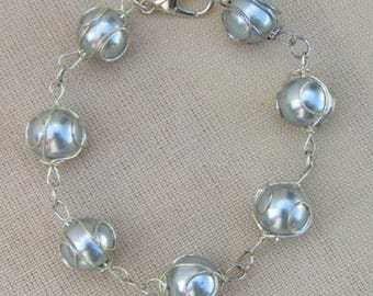 Large Blue/Gray Pearls wrapped in Wire