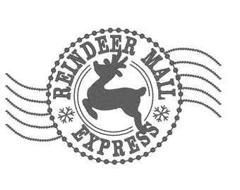 Reindeer mail express Christmas sack stamp machine embroidery designs assorted sizes - instant download Christmas stocking