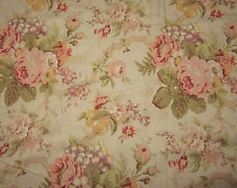 "Vintage Raymond Waits Victorian Floral Fabric ""Conservatroy"" Roses Flowers Fruits Home Decor Fabric Upholstery Fabric 2.75 Yards x 54"""