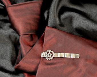 Gear, sterling silver or bronze tie clip