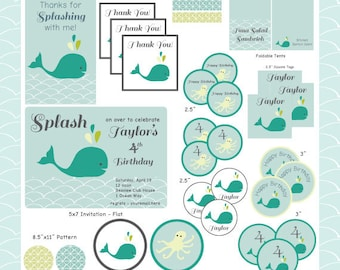 DIY Whale Printable Party Bundle: Hand Drawn Turquoise Whale Birthday/Baby Shower