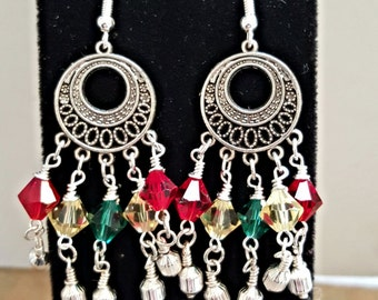 Lovely Swarovski Crystal Festive Dangle Earrings