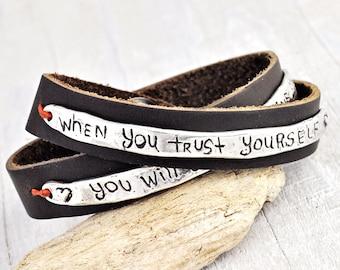 Trust Yourself Boho Wrap Bracelet - Inspirational Jewelry - Leather Bracelet - B353