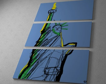 Who Art Now 'Statue of Liberty Sketch' Gallery Wrapped Canvas Triptych Print