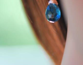 London blue topaz gemstone drop earrings on solid rose gold ear wires