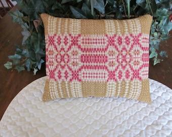 Primitive Antique Coverlet pillow Mustard, Red & Tan