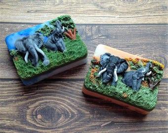 Elephant Soap, African Elephants, Soap Art, Novelty Soap, Gift Soap, Novelty Soap, You pick the scent