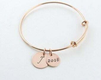 Personalized Graduation Gift,Initial Bangle, Graduation Bracelet,College Graduate, High School Graduation Gift, Senior Gift, Class of 2018