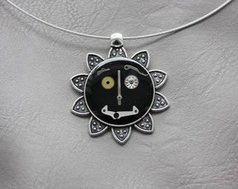 Choker + Sun Steampunk watch parts and resin pendant