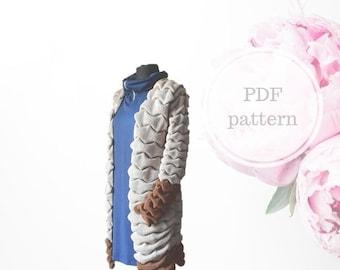 Knitted Cardigan, PDF pattern, Machine knitting, Nice cardigan