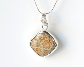 Fossil coral pendant sterling silver with sterling silver chain, square stone pendant, fossil necklace, sand color pendant