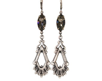Antique Style Earrings in Antiqued Silver with Black Diamond Swarovski Crystal Prong Set Stones Drop Dangle Earrings