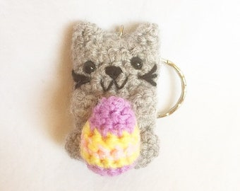 Handmade Crochet Easter Knitted Pusheen Keychain