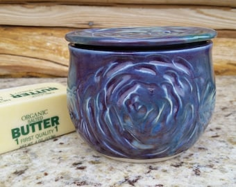 Pottery French Butter Crock, Rose, Purple and Green Butter Dish, Butter Crock, Butter Jar, Butter Keeper, Butter Plate, Made in Montana