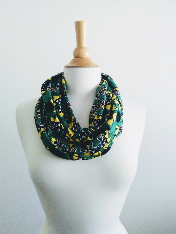 Emerald green botanical print infinity scarf black scarf jersey gift for her mothers day spring scarf geometric print lightweight accessory