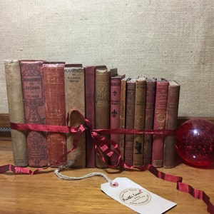 Rustic Book Collection | Vintage Books | Old Books Decoration | Rustic Home Decor | Farmhouse Style | Farmhouse Decor | Red and Brown Books