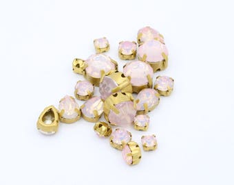 Mixed pink Opal stones with matte gold Setting // Sew-on