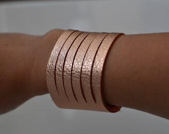 Rose gold bracelet, rose gold leather bracelet, leather bracelet, cuff bracelet, rose gold cuff