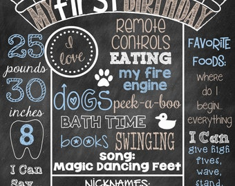 Boy First Birthday Chalkboard Poster Sign First Birthday Poster You Pick Colors