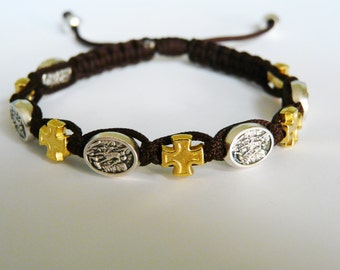 St. Michael - gold cross medals bracelet
