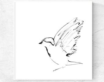 Bird print, bird wall art, minimalist bird art, black ink sketch, printable art, downloadable prints, instant download art, digital print