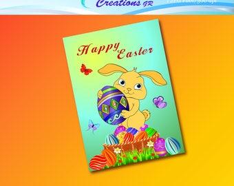 Easter Card, Instant Download, Easter, Happy Easter, Bunny, Easter Eggs, Easter Sunday, Printable Easter Card, Digital Easter Card